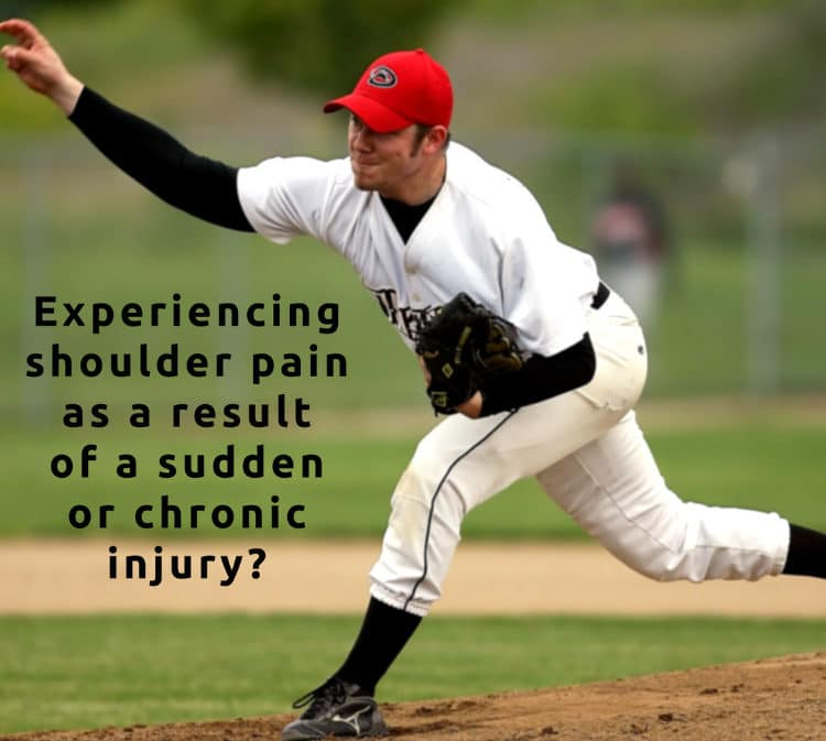 male baseball pitcher throwing ball with shoulder pain